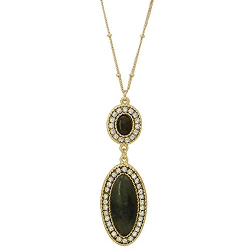 Pave Crystal Olive Green Semi Precious Stone Pendant Long Necklace