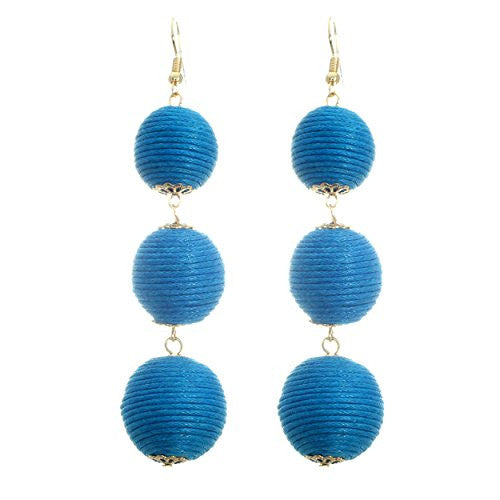 Thread Ball Drop Fashion Earrings (Bright Blue)