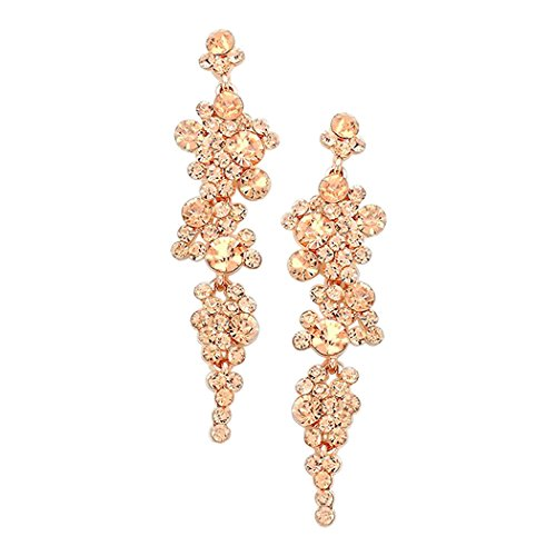 Crystal Rhinestone Bubble Long Dangle Statement Earrings (Gold Tone) 3.25 inches
