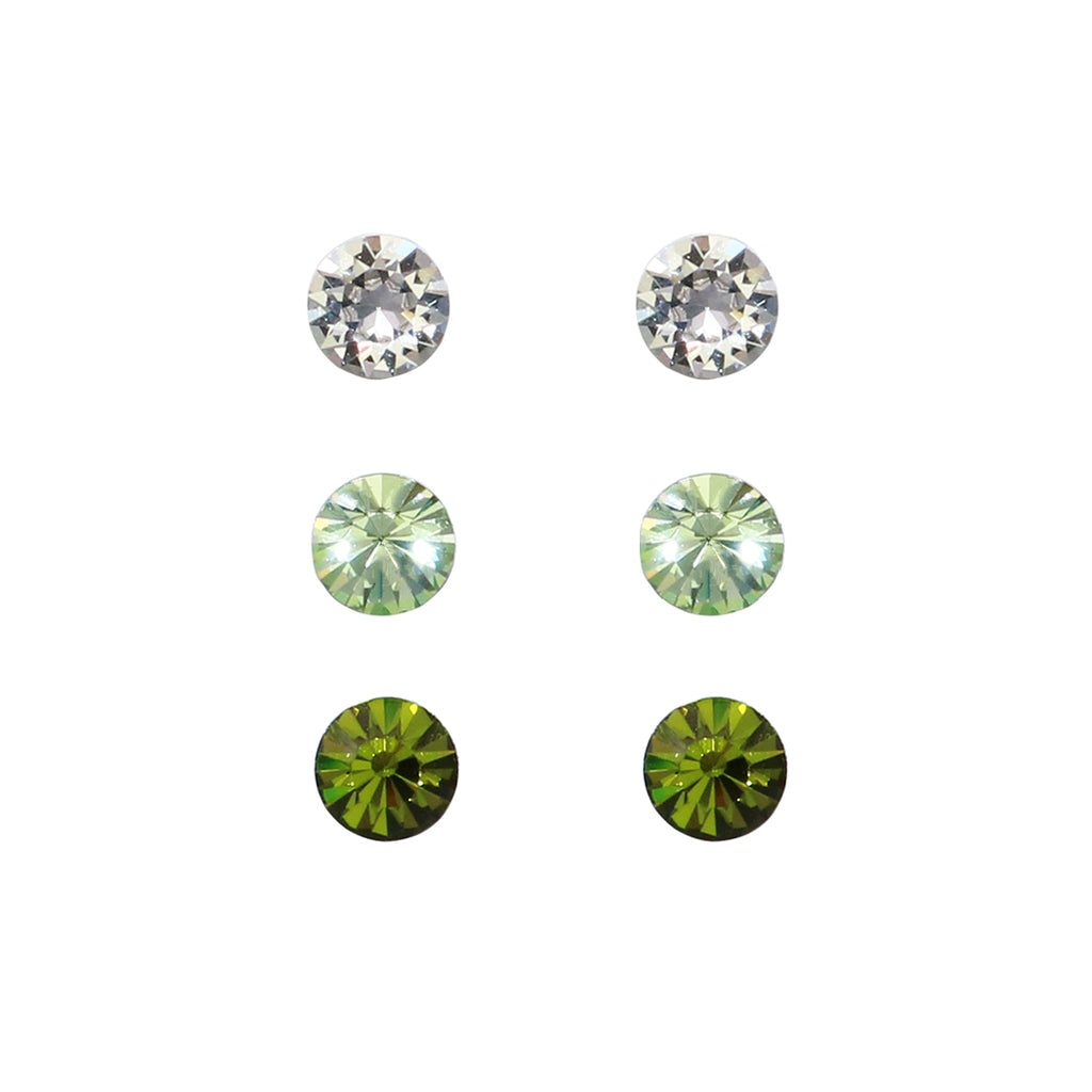Set of 3 Swarovski Crystal Stud Earrings