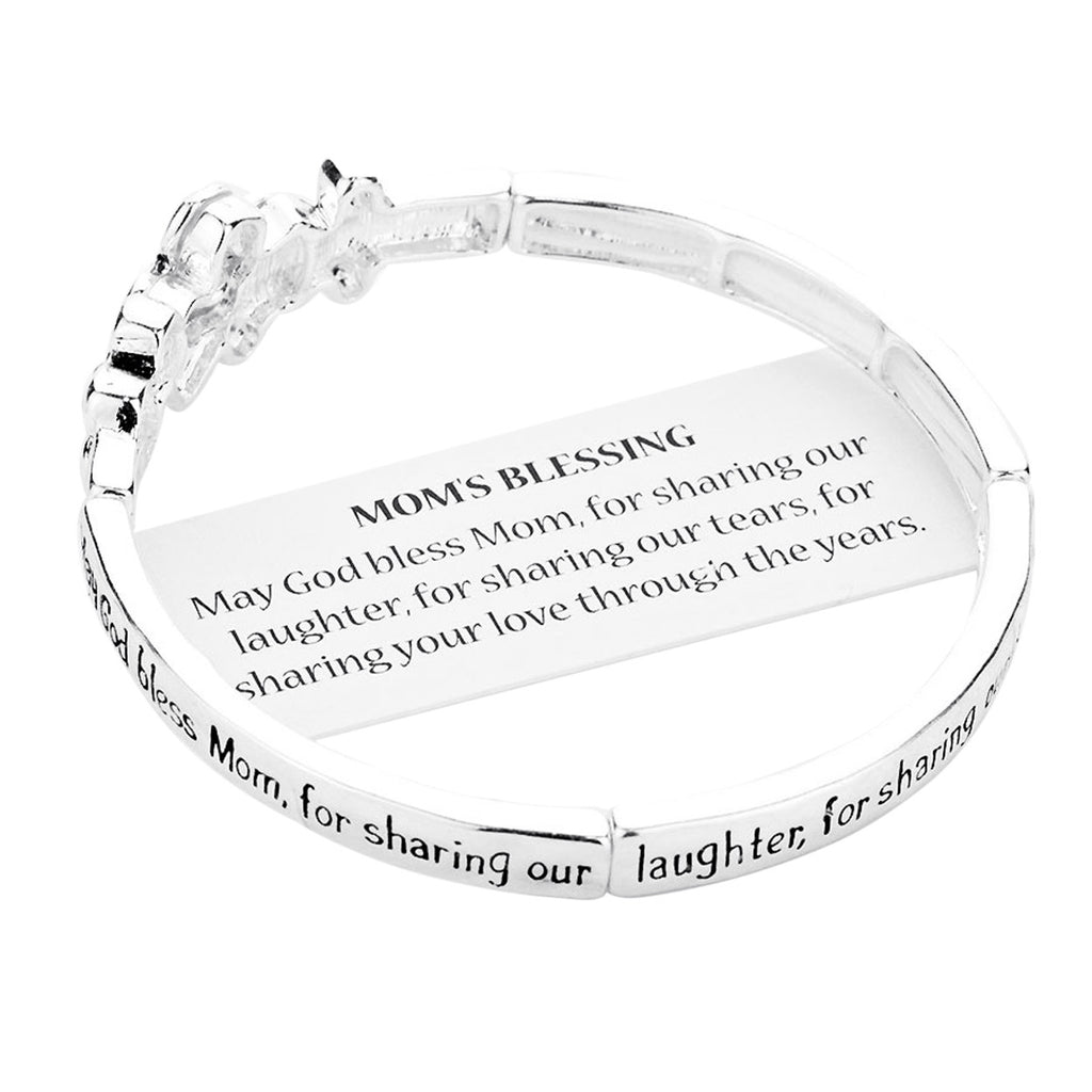 May God Bless Mom Floral Stretch Bangle Bracelet