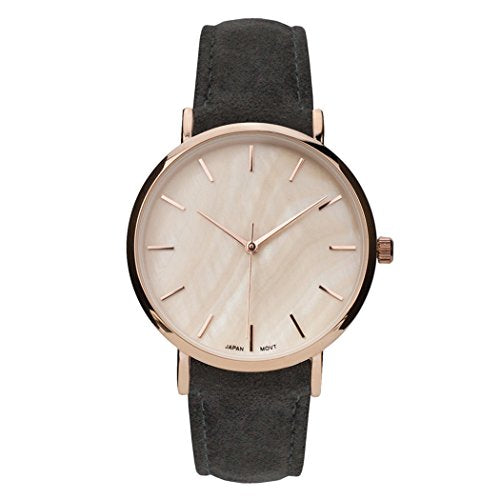 Genuine Leather Mother of Pearl Fashion Watch (Dark Grey)