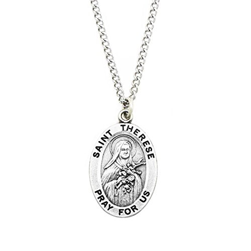 Saint Therese Religious Medal Pendant Necklace