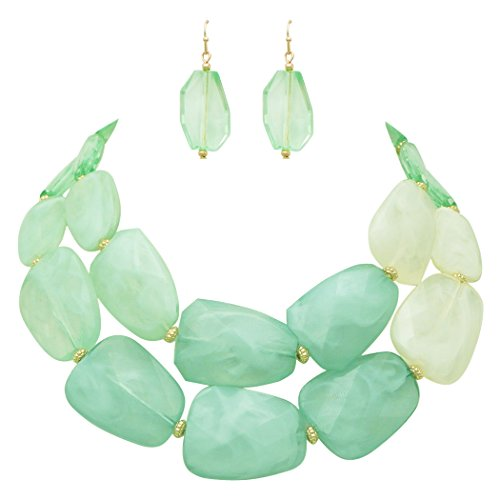 Ombre Polished Resin Statement Necklace Earring Set (Light Mint Green)