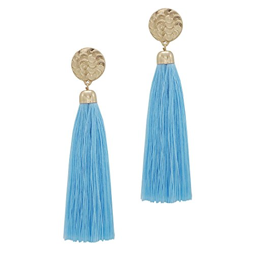 Beautiful Thread Tassel Extra Long Dangle Statement Earrings Summer Blue Color
