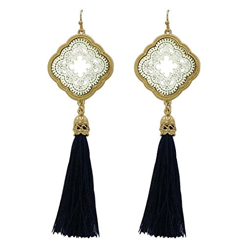 Moroccan Style Filigree Tassel Drop Earrings