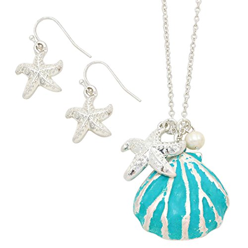 "Women's Fun ""Beach Babe"" Turquoise and Silver Tone Shell Pendant Necklace Earring Jewelry Gift Set, 30""with 3""Extension"