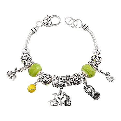 "Sports Theme Beaded Charm Bracelet ""I Love Tennis"""