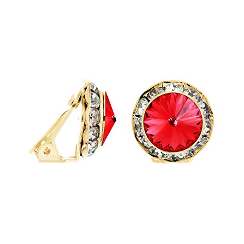 Swarovski Crystal Statement Clip On Earrings (Gold Tone/ Padparadscha)