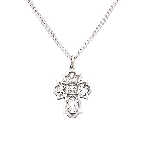 Rosemarie Collections Religious Gift First Communion Four Way Cross Pendant Necklace 18""