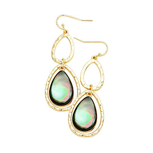 Beautiful Gold Color Abalone Teardrop Dangle Earrings