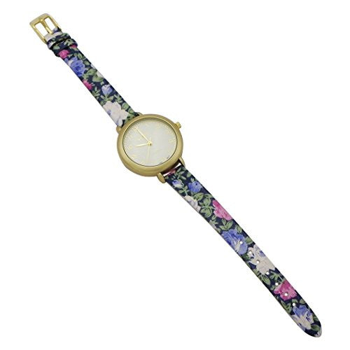 Round Face Flower Band Geneva Fashion Watch (Blue and Gold)