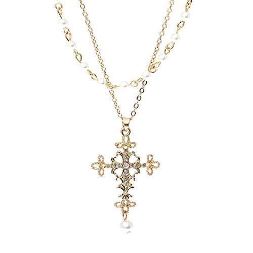 Double Layer Filigree Cross Religious Pendant Necklace with Faux Pearls (Gold Tone)