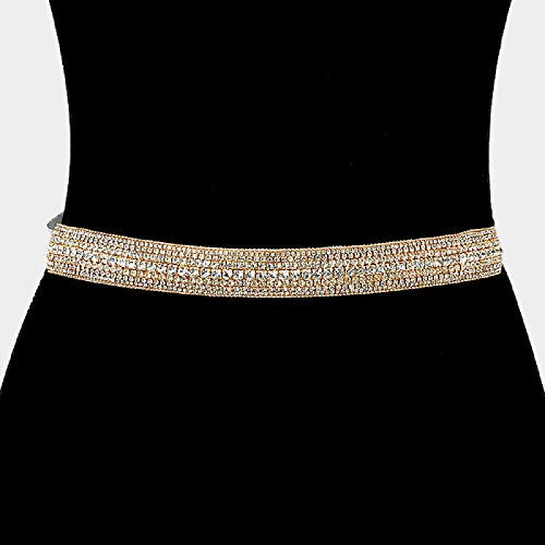 Gold Color Elegant Crystal Rhinestone Bridal Sash