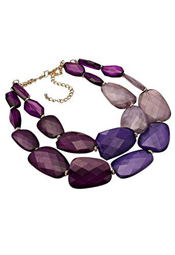 Purple Ombre Polished Resin Statement Necklace Earring Set