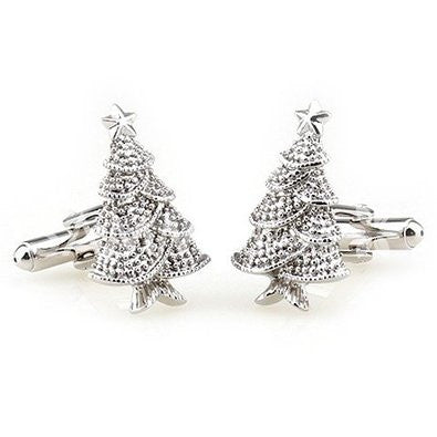 Christmas Tree Silver Color Cuff Links