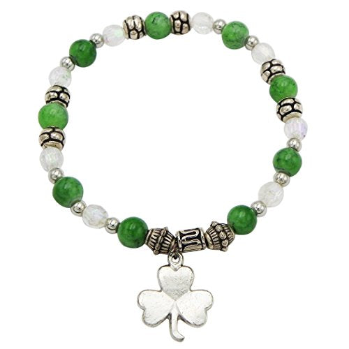 Irish Beaded Stretch Bracelet with Charm (Shamrock)