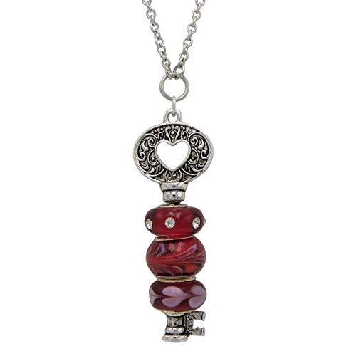 Extra long necklace add a bead interchangeable key pendant red extra long necklace add a bead interchangeable key pendant red heart valentine 31 aloadofball Gallery