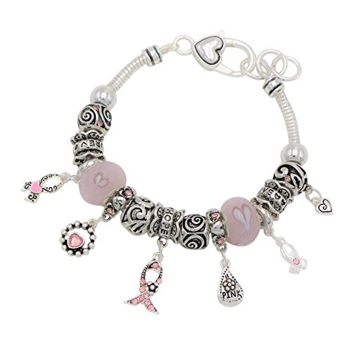 Pink Ribbon Breast Cancer Awareness Hearts Charm Bracelet