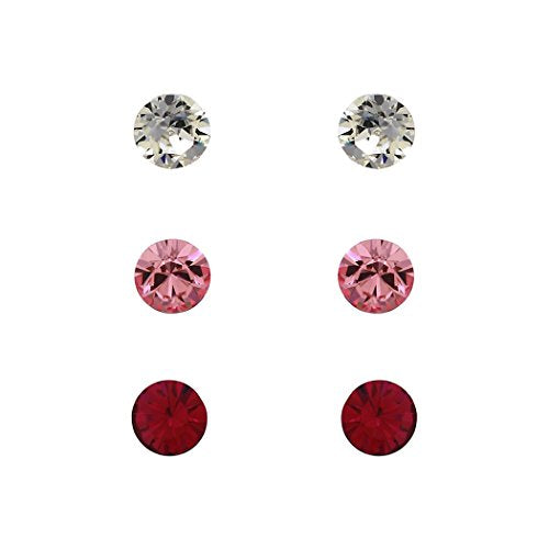 6mm Swarovski Crystal Stud Earrings Set of 3 (Pink and Clear)
