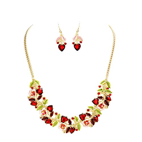 Flower and Vine Glass Crystal Necklace and Earrings Gift Set (Pink and Red)