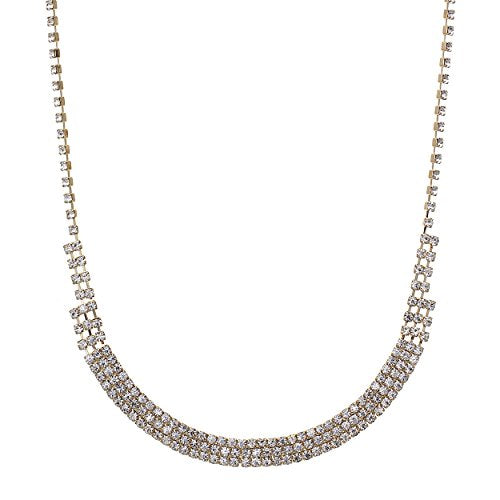 Rhinestone Strand U Shaped Bar Necklace
