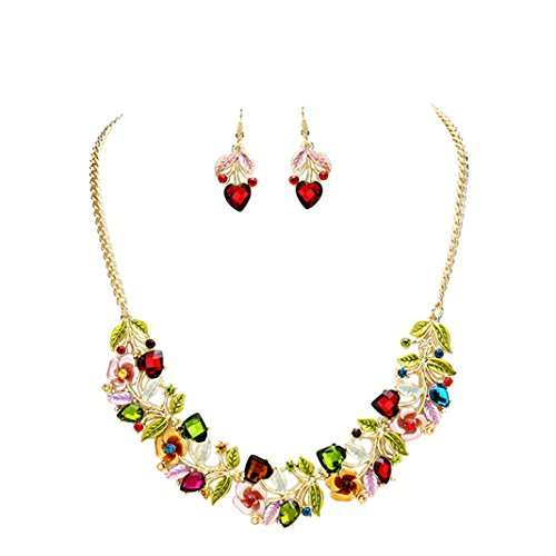 Flower and Vine Glass Crystal Necklace and Earrings Set (Jewel Tones)