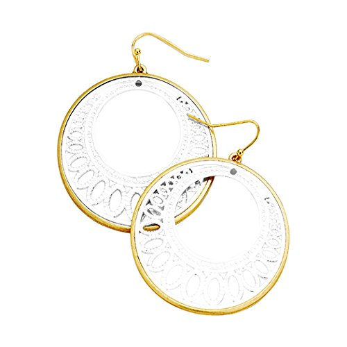 Two Tone Filigree Cutout Disc Earrings (Gold with Silver Color)