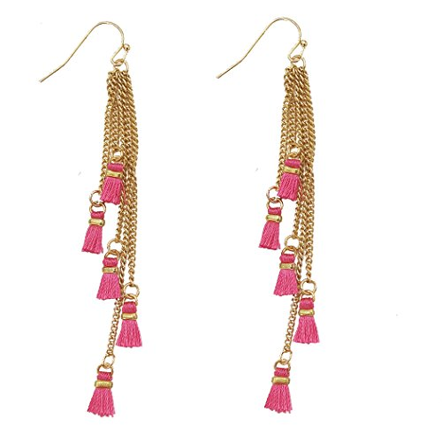 Metal Fringe Mini Tassel Gold Tone Drop Earrings (Fuchsia Pink)