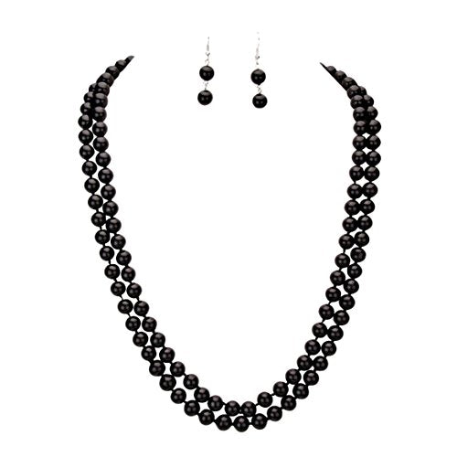 "60"" Long Black Faux Pearl Necklace Set"