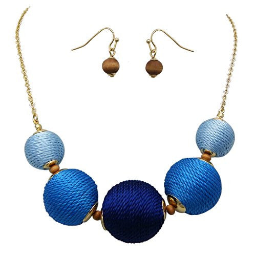 Blue Ombre Thread Ball Statement Necklace Jewelry Set