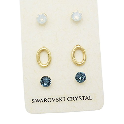 3 Pairs Pretty Swarovski Crystal Stud Earrings (Little Hoop)