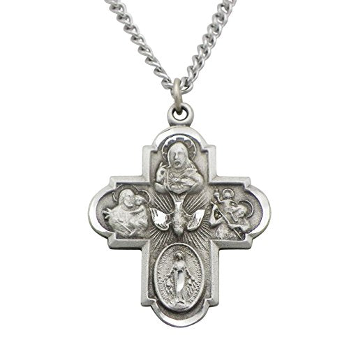 Rosemarie Collections Religious Gift Traditional Catholic Four Way Medal Pendant Necklace 24""