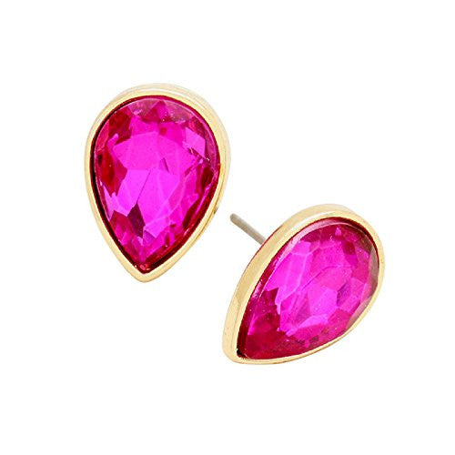Crystal Teardrop Post Stud Earrings (Fuchsia Pink)