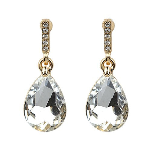 Teardrop Dangle Drop Earrings (Gold Tone/Clear)