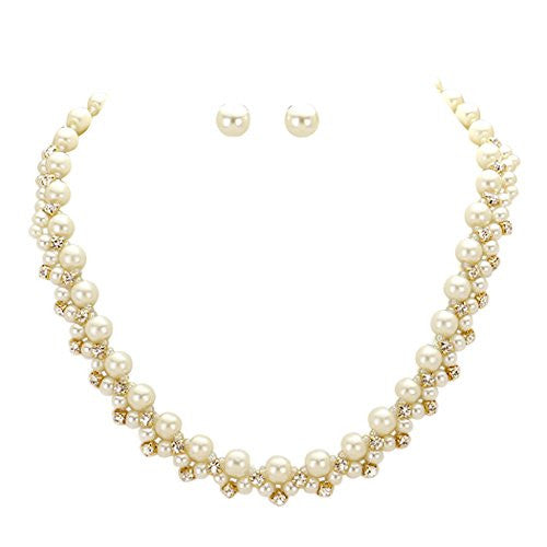 Gold and Cream Faux Pearl and Crystal Necklace and Earrings Set
