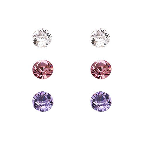 6mm Swarovski Crystal Stud Earrings Set of 3 (Pink and Purple)
