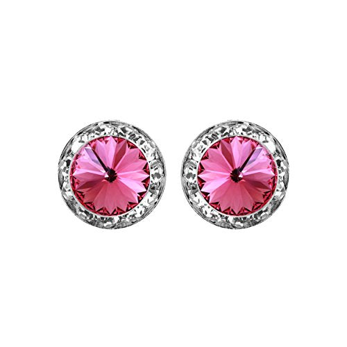 Rosemarie Collections Women's Hypoallergenic Post Back Halo Earrings Made with Swarovski Crystals (Pink/Silver)