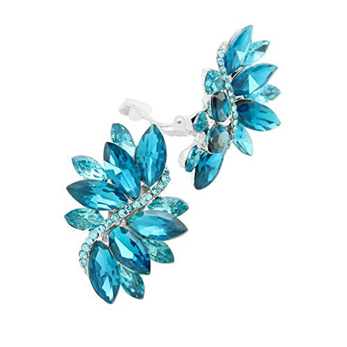 Crystal Cluster Statement Clip On Earrings (Silver Tone Aqua Blue)