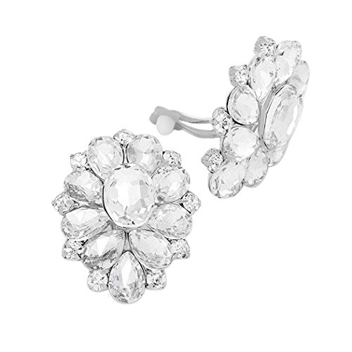 Stunning Rhinestone Statement Clip On Earrings (Silver Tone/Clear)