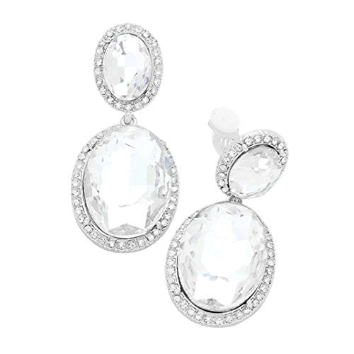 c18b02801 ... Double Oval Crystal Evening Clip On Earrings (Silver-Clear) ...
