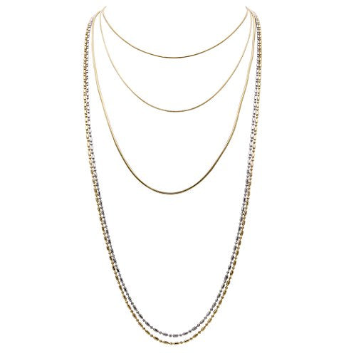 Two Tone Multi Chain Long Necklace Set