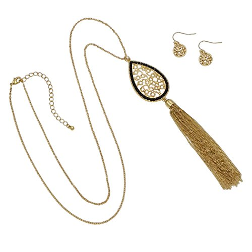 Fashion Jewelry Set Teardrop Tassel Pendant Necklace