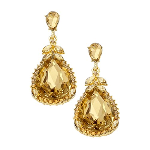 Crystal Rhinestone Dangle Statement Earrings (Lt Topaz)