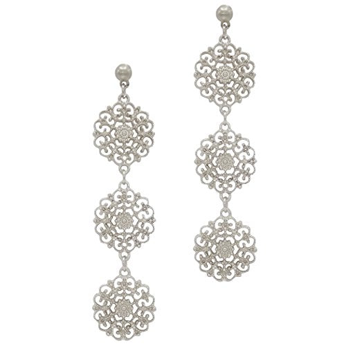 Triple Filigree Flower Dangle Drop Earrings (Silver Tone)