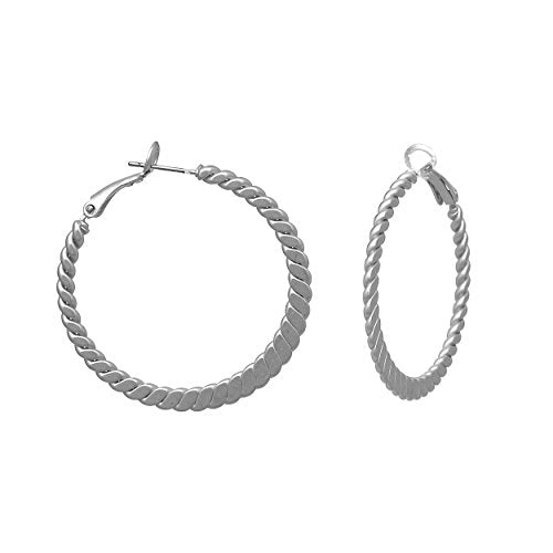 Rosemarie Collections Hypoallergenic Twisted Hoop Earrings 40mm (Silver)