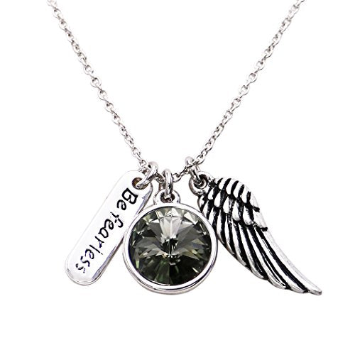 "Angel Wing and Rhinestone ""Be Fearless"" Charm Inspiration Necklace 18"" with 2"" extender"