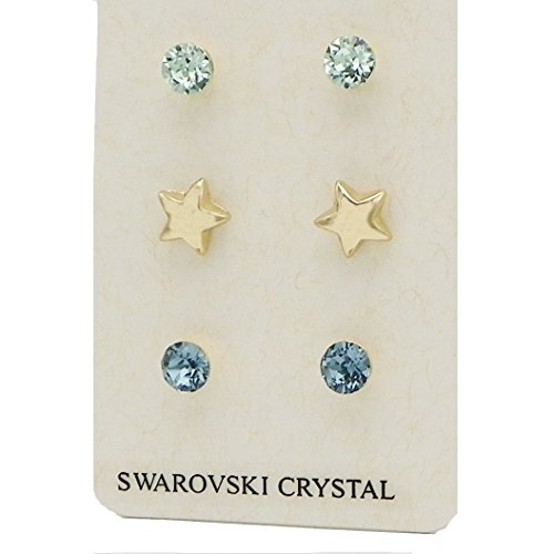 Swarovski Pastel Blue Crystal Stud Earring Set (Gold Star)