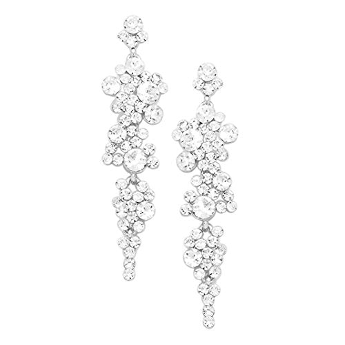 Crystal Rhinestone Bubble Dangle Statement Earrings (Clear Crystal/Silver Tone)
