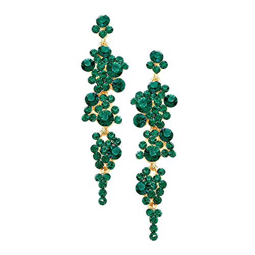 Crystal Rhinestone Long Bubble Dangle Statement Earrings (Green/Gold Tone)